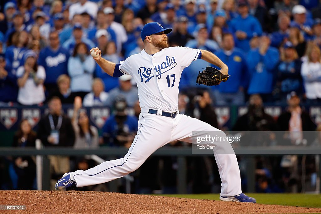 <a gi-track='captionPersonalityLinkClicked' href=/galleries/search?phrase=Wade+Davis+-+Baseball+Player&family=editorial&specificpeople=8202494 ng-click='$event.stopPropagation()'>Wade Davis</a> #17 of the Kansas City Royals throws a pitch in the ninth inning against the Toronto Blue Jays in game two of the American League Championship Series at Kauffman Stadium on October 17, 2015 in Kansas City, Missouri.