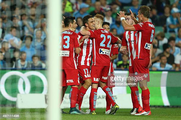 Wade Dekker of Melbourne City FC celebrates scoring a goal during the round one ALeague match between Sydney FC and Melbourne City FC at Allianz...