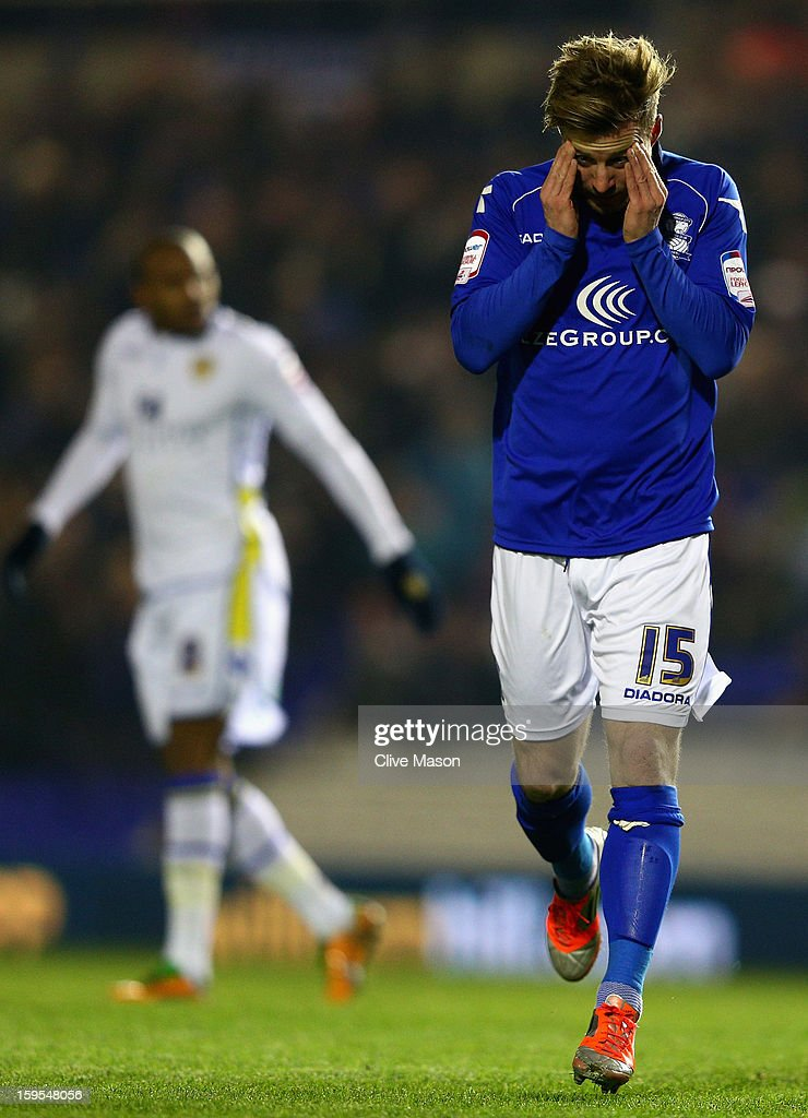 Wade Elliott of Birmingham City rues a missed opportunity during the FA Cup with Budweiser Third Round Replay match between Birmingham City and Leeds United at St Andrews on January 15, 2013 in Birmingham, England.
