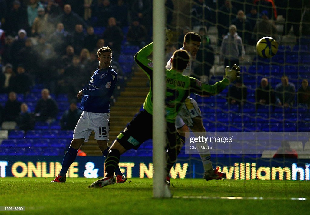 Wade Elliott of Birmingham City scores a goal during the FA Cup with Budweiser Third Round Replay match between Birmingham City and Leeds United at St Andrews on January 15, 2013 in Birmingham, England.