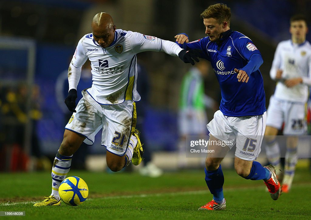 Wade Elliott of Birmingham City tackles El-Hadji Diouf of Leeds United during the FA Cup with Budweiser Third Round Replay match between Birmingham City and Leeds United at St Andrews on January 15, 2013 in Birmingham, England.