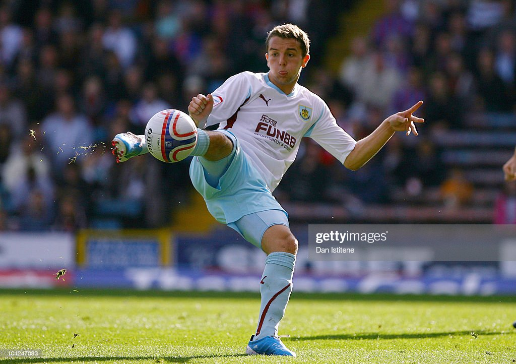 Wade Elliott of Burnley hits a volley towards goal from the edge of the area during the Npower Championship match between Crystal Palace and Burnley...