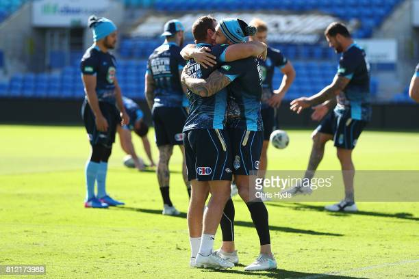 Wade Graham and Blake Ferguson during the New South Wales Blues State of Origin training session at Cbus Super Stadium on July 11 2017 in Gold Coast...