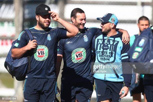 Wade Graham Boyd Cordner and Jack Bird arrive a New South Wales Blues State of Origin Training Session on July 8 2017 in Kingscliff Australia