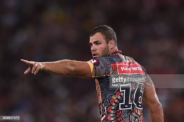 Wade Graham of the Indigenous All Stars signals to his team mates during the NRL match between the Indigenous AllStars and the World AllStars at...