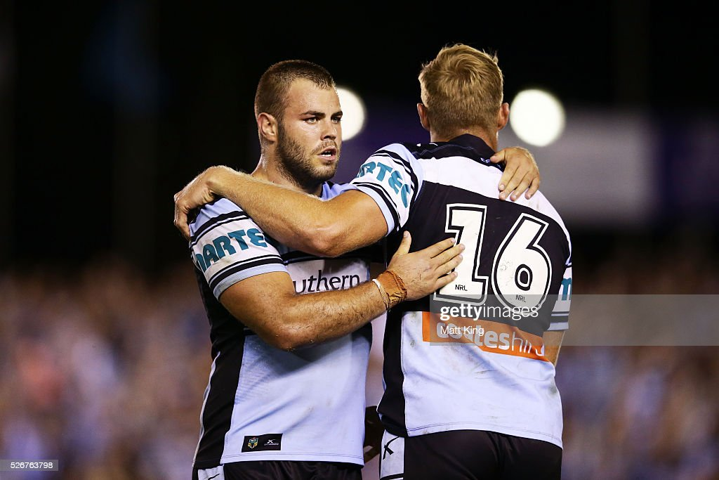 Wade Graham of the Sharks (L) celebrates victory Matt Prior of the Sharks (R) at the end of the round nine NRL match between the Cronulla Sharks and the Brisbane Broncos at Southern Cross Group Stadium on May 1, 2016 in Sydney, Australia.