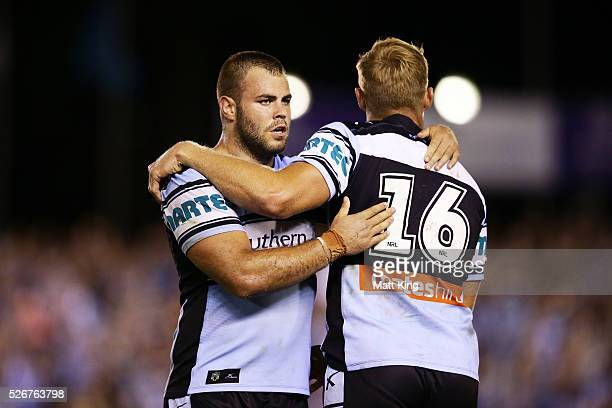 Wade Graham of the Sharks celebrates victory Matt Prior of the Sharks at the end of the round nine NRL match between the Cronulla Sharks and the...