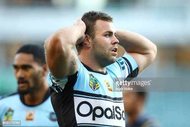 Wade Graham of the Sharks looks dejected during the NRL Elimination Final match between the Cronulla Sharks and the North Queensland Cowboys at...
