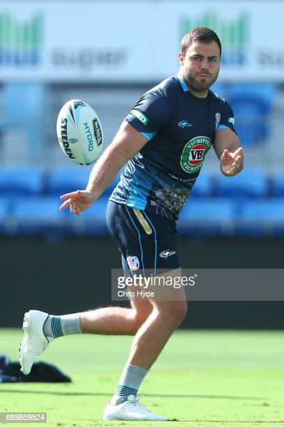 Wade Graham passes during the New South Wales Blues State of Origin captain's run at Cbus Super Stadium on May 30 2017 in Gold Coast Australia