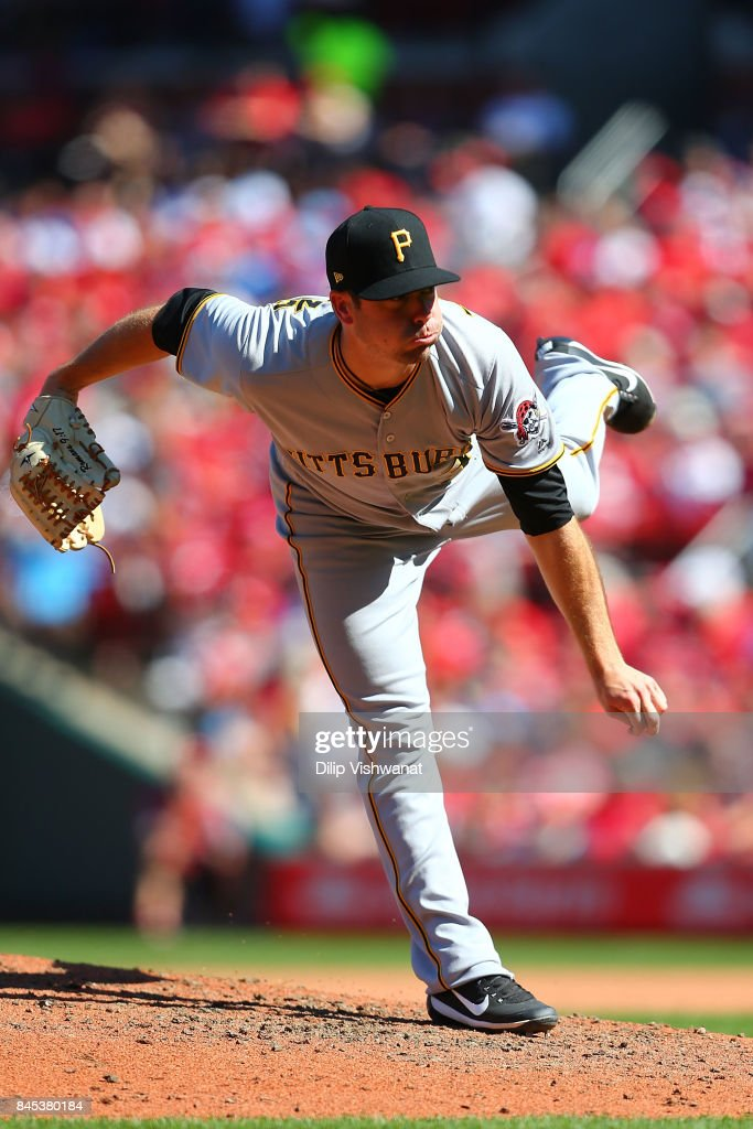 Wade LeBlanc #38 of the Pittsburgh Pirates pitches against the St. Louis Cardinals in the sixth inning at Busch Stadium on September 10, 2017 in St. Louis, Missouri.