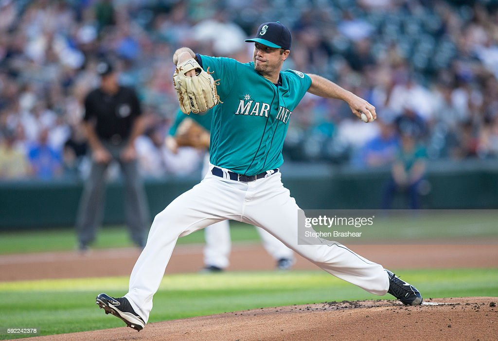 Wade LeBlanc #35 of the Seattle Mariners delivers pitch during the first inning of a game against the Milwaukee Brewers at Safeco Field on August 19, 2016 in Seattle, Washington.