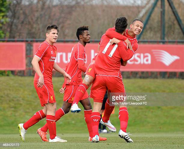 Wade Maxwell of Liverpool celebrates his goal with team mates Sergi Canos Madger Gomes and Adam Phillips during the Barclays U18 Premier League match...