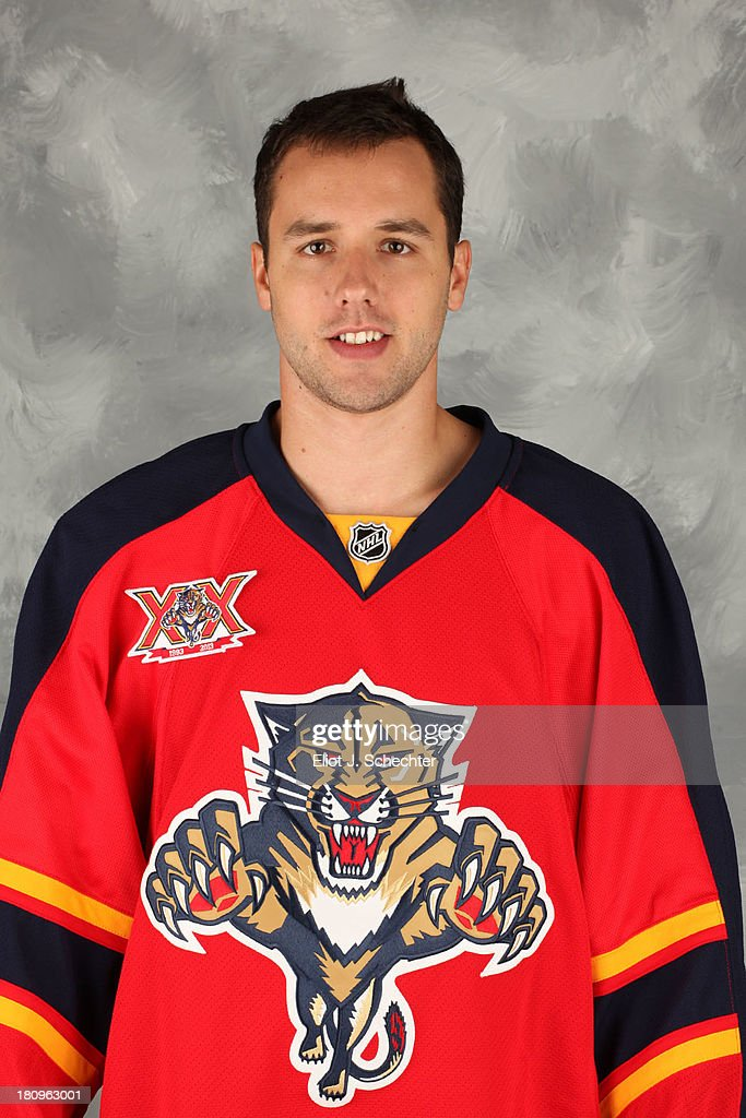 Wade Megan of the Florida Panthers poses for his official headshot for the 2013-2014 NHL season on September 11, 2013 in Sunrise, Florida.