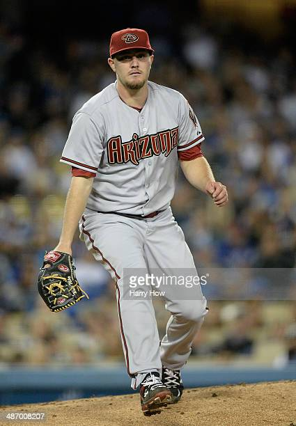Wade Miley of the Arizona Diamondbacks leaves the mound to field during the game against the Los Angeles Dodgers at Dodger Stadium on April 18 2014...