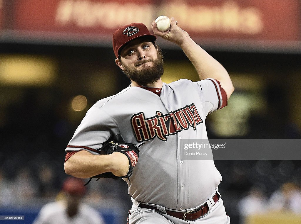 Wade Miley of the Arizona Diamondbacks pitches during the first inning of a baseball game against the San Diego Padres at Petco Park September 2014...