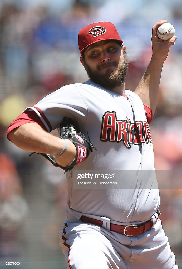 Wade Miley of the Arizona Diamondbacks pitches in the bottom of the first inning against the San Francisco Giants at ATT Park on July 12 2014 in San...
