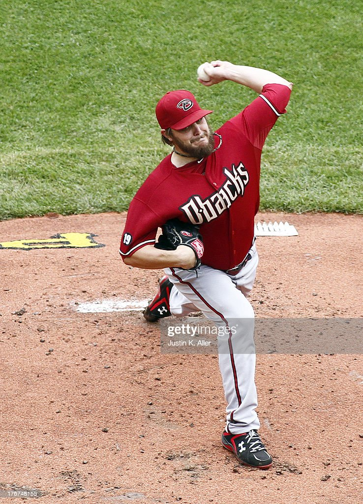 Wade Miley #36 of the Arizona Diamondbacks pitches in the first inning against the Pittsburgh Pirates during the game on August 18, 2013 at PNC Park in Pittsburgh, Pennsylvania.