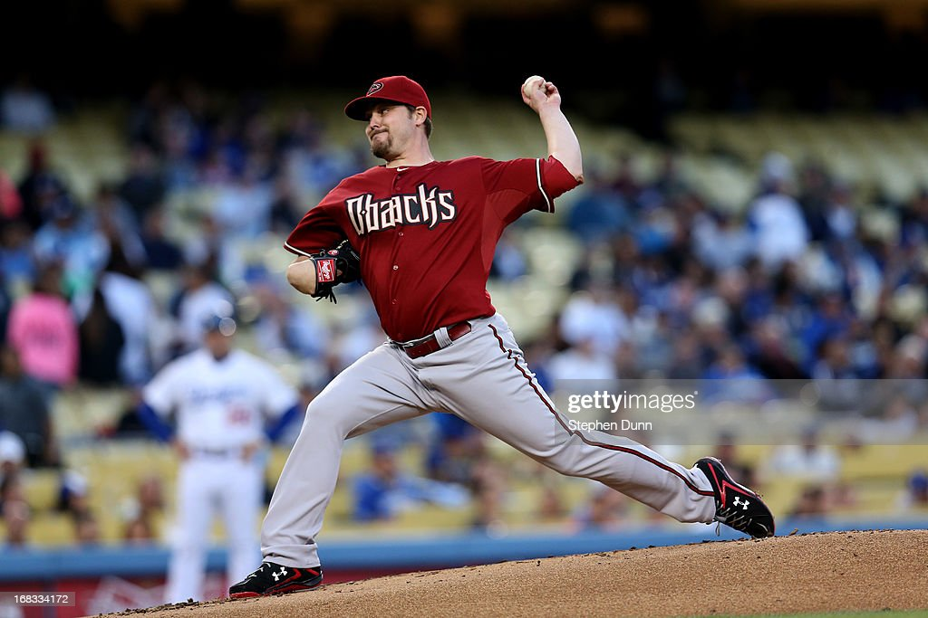 Wade Miley #36 of the Arizona Diamondbacks throws a pitch against the Los Angeles Dodgers at Dodger Stadium on May 8, 2013 in Los Angeles, California.