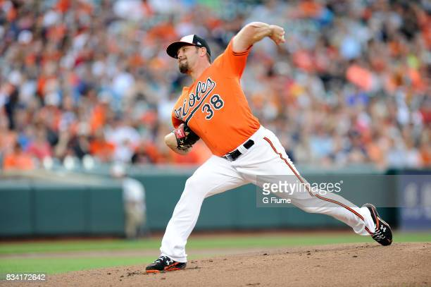 Wade Miley of the Baltimore Orioles pitches against the Detroit Tigers at Oriole Park at Camden Yards on August 5 2017 in Baltimore Maryland