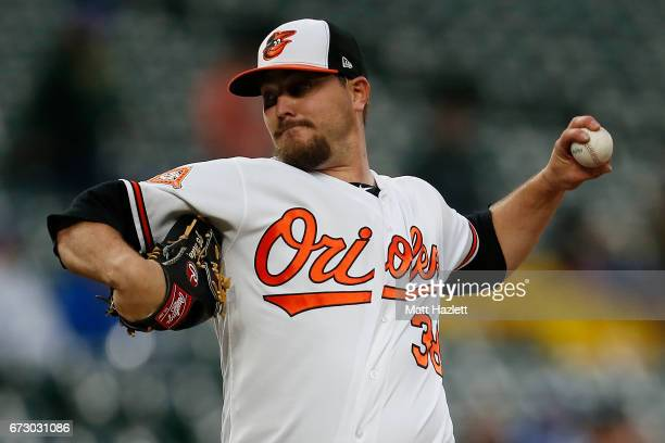 Wade Miley of the Baltimore Orioles pitches against the Tampa Bay Rays in the first inning at Oriole Park at Camden Yards on April 25 2017 in...