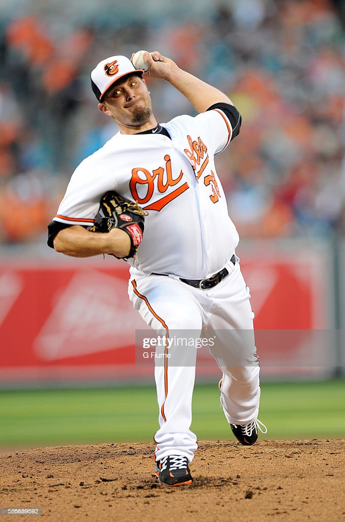 Wade Miley of the Baltimore Orioles pitches against the Texas Rangers at Oriole Park at Camden Yards on August 4 2016 in Baltimore Maryland