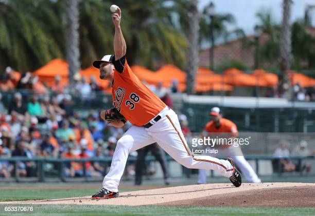 Wade Miley of the Baltimore Orioles pitches during the first inning of the Spring Training Game against the Tampa Bay Rays on March 14 2017 at Ed...