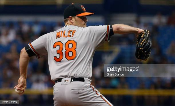 Wade Miley of the Baltimore Orioles pitches during the first inning of a game against the Tampa Bay Rays on July 25 2017 at Tropicana Field in St...