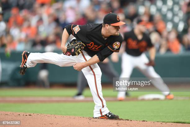 Wade Miley of the Baltimore Orioles pitches in first inning during a baseball game against the Chicago White Sox at Oriole Park at Camden Yards on...