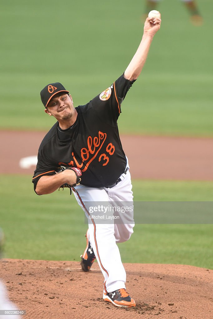 Wade Miley of the Baltimore Orioles pitches in the first inning during a baseball game against the against the Houston Astros at Oriole Park at...
