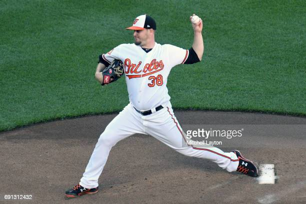 Wade Miley of the Baltimore Orioles pitches in the first inning during a baseball game against the Boston Red Sox at Oriole Park at Camden Yards on...