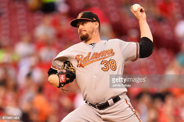 Wade Miley of the Baltimore Orioles pitches in the second inning against the Cincinnati Reds at Great American Ball Park on April 20 2017 in...