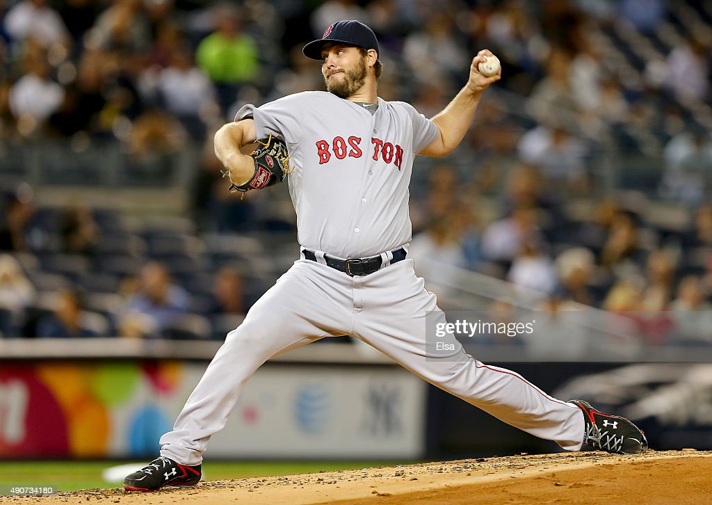 Wade Miley of the Boston Red Sox delivers a pitch in the first inning against the New York Yankees on September 30 2015 at Yankee Stadium in the...