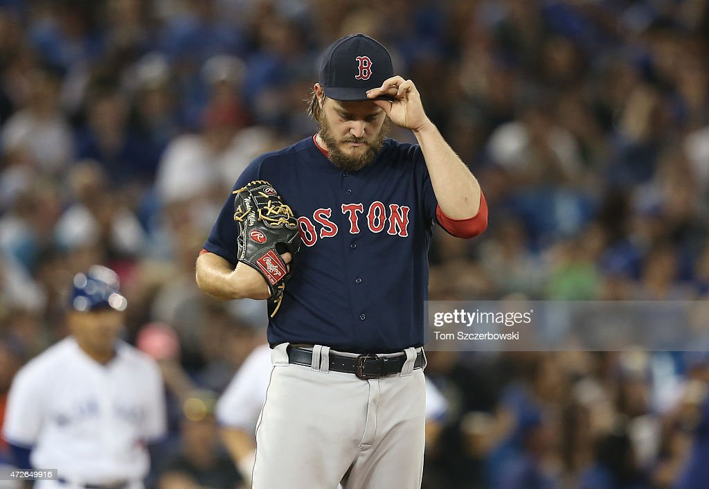 Wade Miley of the Boston Red Sox in the sixth inning during MLB game action against the Toronto Blue Jays on May 8 2015 at Rogers Centre in Toronto...