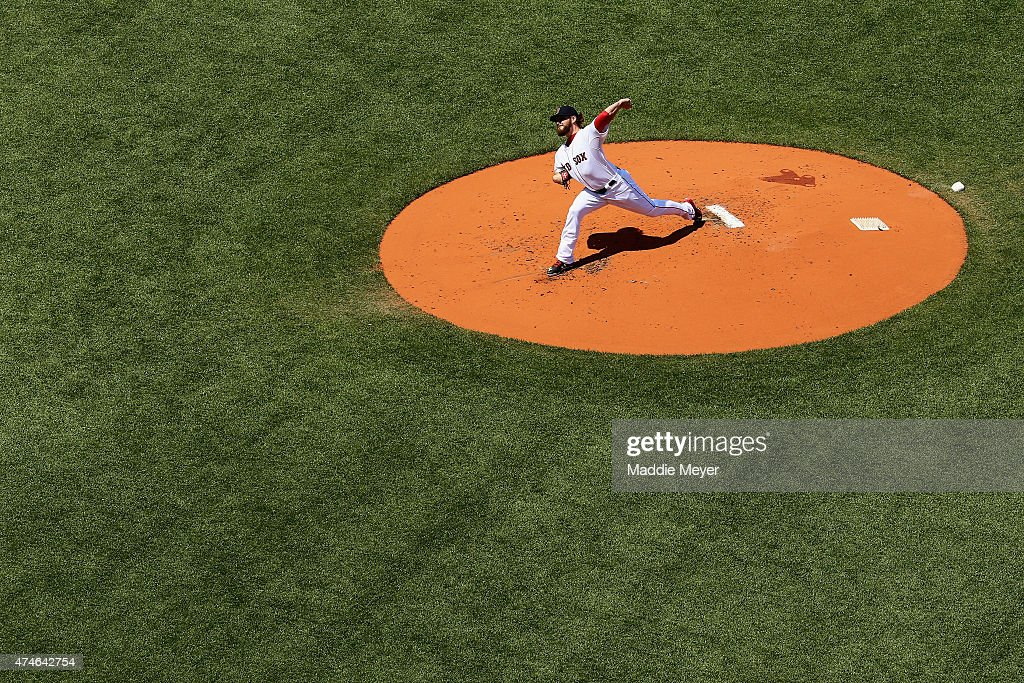 Wade Miley of the Boston Red Sox pitches against the Los Angeles Angels of Anaheim during the second inning at Fenway Park on May 24 2015 in Boston...