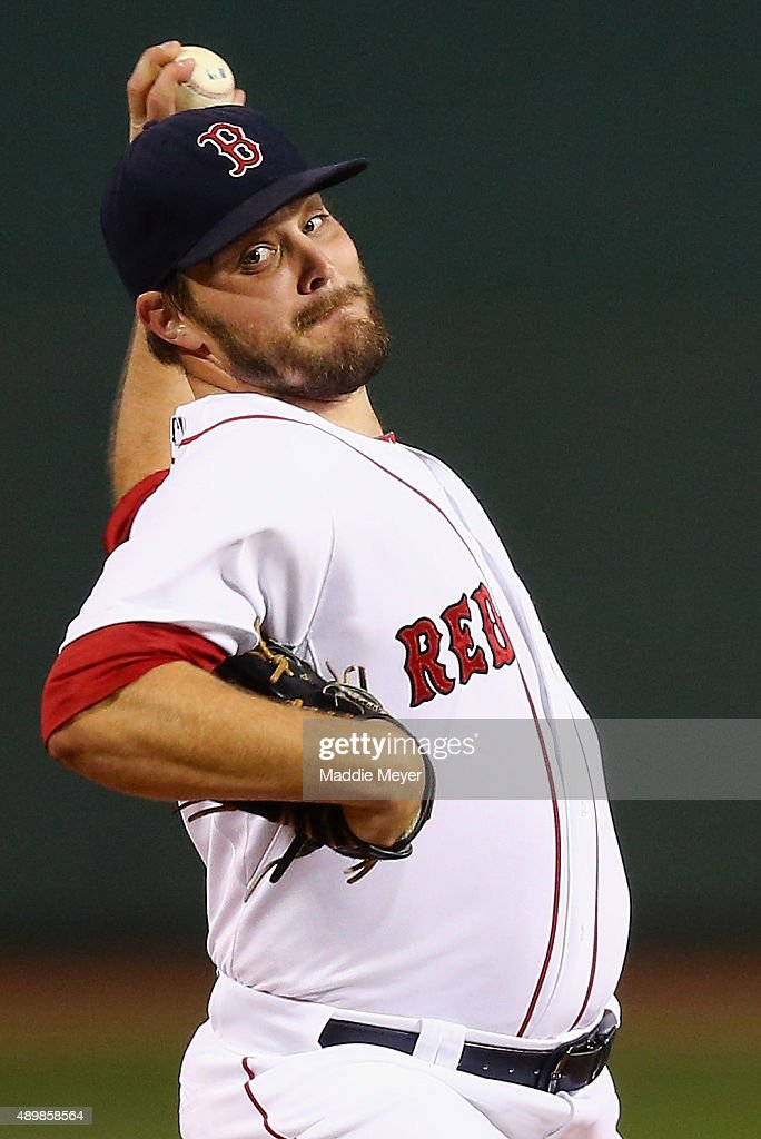 Wade Miley of the Boston Red Sox pitches against the Tampa Bay Rays during the first inning at Fenway Park on September 24 2015 in Boston...