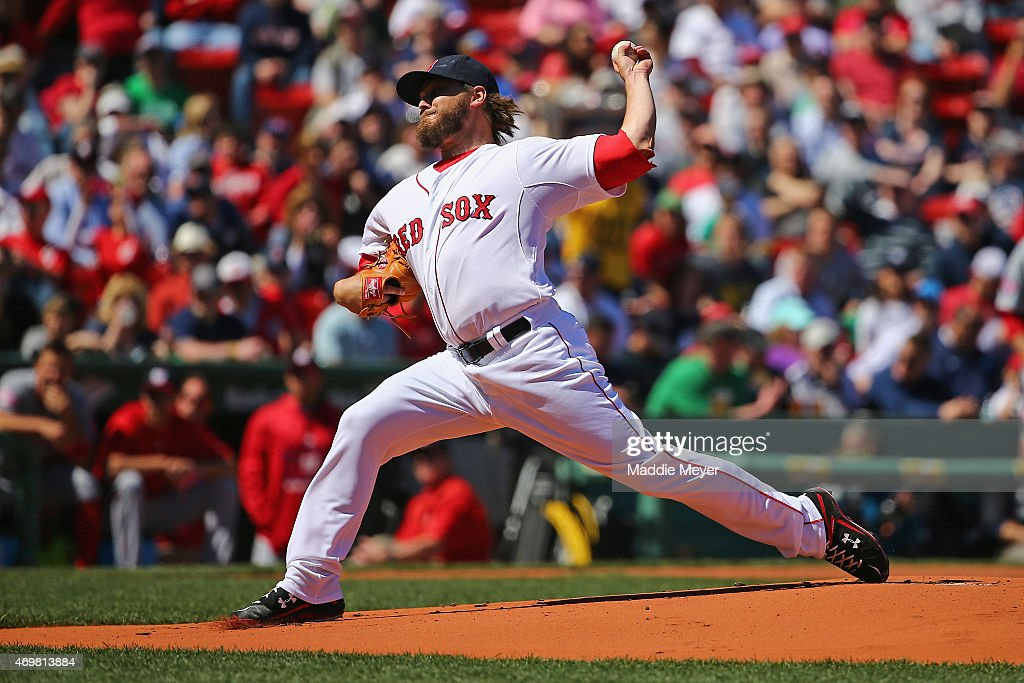 Wade Miley of the Boston Red Sox pitches against the Washington Nationals while wearing the to commemorate Jackie Robinson Day during the first...