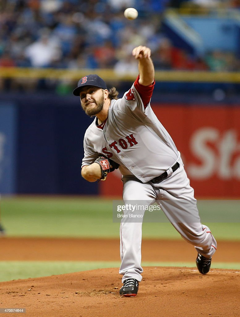 Wade Miley of the Boston Red Sox pitches during the first inning of a game against the Tampa Bay Rays on April 21 2015 at Tropicana Field in St...