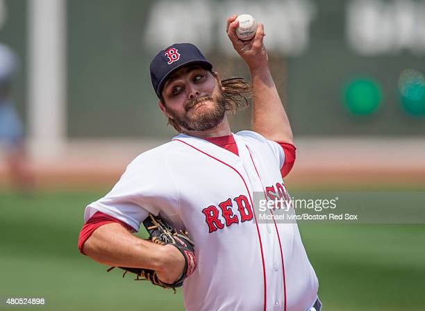 Wade Miley of the Boston Red Sox pitches during the first inning against the New York Yankees at Fenway Park in Boston Massachusetts on July 12 2015