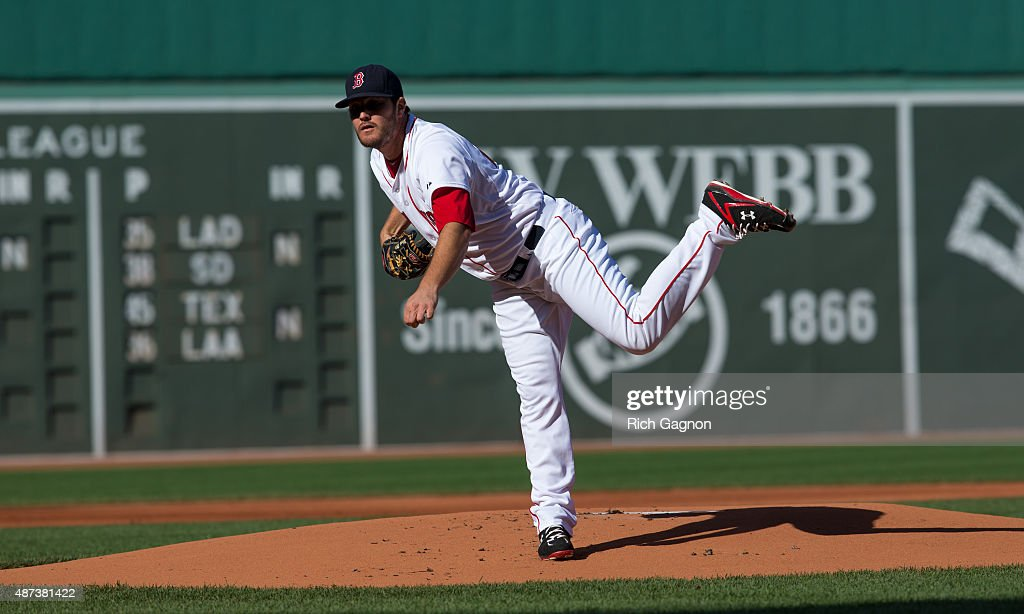 Wade Miley of the Boston Red Sox pitches during the first inning against the Philadelphia Phillies at Fenway Park on September 5 2015 in Boston...