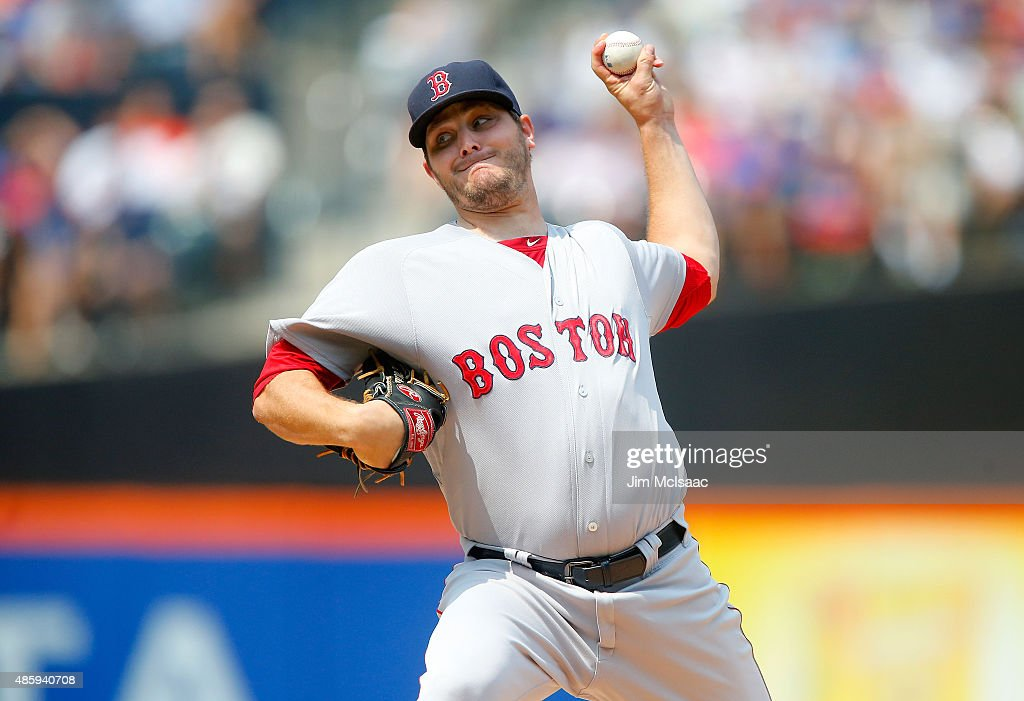 Wade Miley of the Boston Red Sox pitches in the first inning against the New York Mets at Citi Field on August 30 2015 in the Flushing neighborhood...