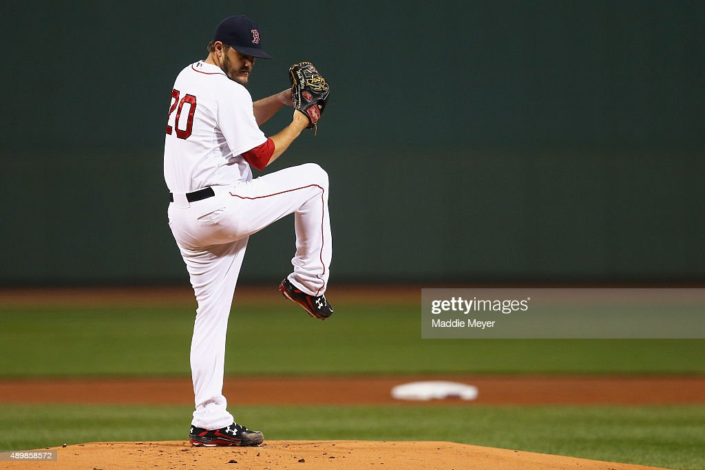 Wade Miley of the Boston Red Sox prepares to pitch against the Tampa Bay Rays during the first inning at Fenway Park on September 24 2015 in Boston...