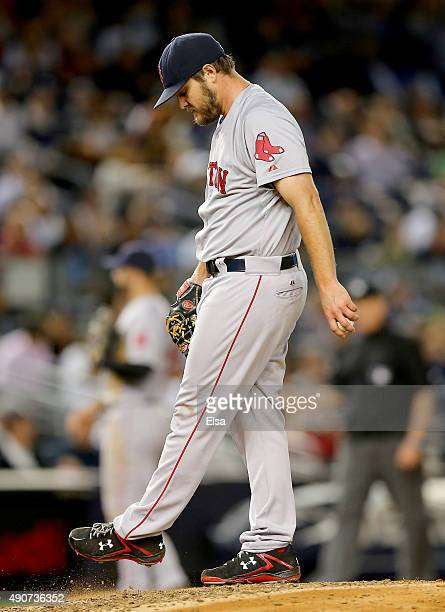Wade Miley of the Boston Red Sox reacts in the fifth inning against the New York Yankees on September 30 2015 at Yankee Stadium in the Bronx borough...