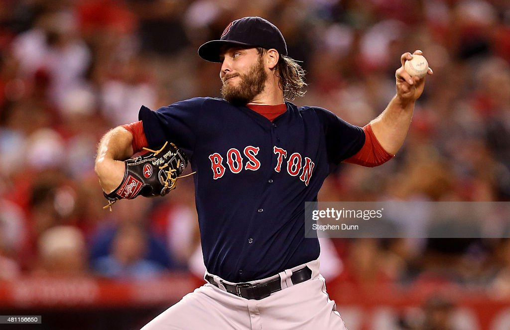 Wade Miley of the Boston Red Sox throws a pitch against the Los Angeles Angels of Anaheim at Angel Stadium of Anaheim on July 17 2015 in Anaheim...