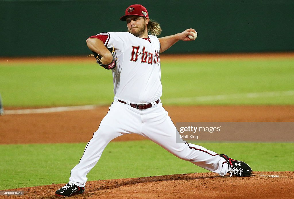 Wade Miley of the Diamondbacks pitches during the opening match of the MLB season between the Los Angeles Dodgers and the Arizona Diamondbacks at Sydney Cricket Ground on March 22, 2014 in Sydney, Australia.