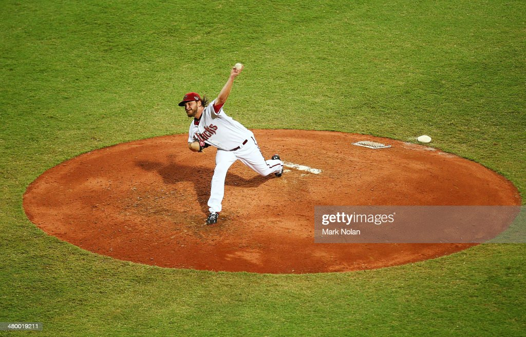 <a gi-track='captionPersonalityLinkClicked' href=/galleries/search?phrase=Wade+Miley&family=editorial&specificpeople=7511054 ng-click='$event.stopPropagation()'>Wade Miley</a> of the Diamondbacks pitches during the opening match of the MLB season between the Los Angeles Dodgers and the Arizona Diamondbacks at Sydney Cricket Ground on March 22, 2014 in Sydney, Australia.