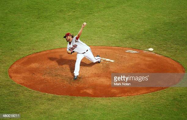 Wade Miley of the Diamondbacks pitches during the opening match of the MLB season between the Los Angeles Dodgers and the Arizona Diamondbacks at...