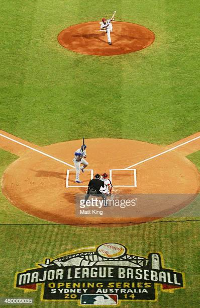 Wade Miley of the Diamondbacks pitches the first ball of the MLB season during the opening match of the MLB season between the Los Angeles Dodgers...
