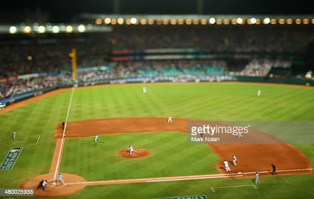 Wade Miley of the Diamondbacks pitches to Clayton Kershaw of the Dodgers during the opening match of the MLB season between the Los Angeles Dodgers...