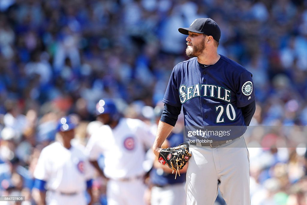 Wade Miley #20 of the Seattle Mariners looks on while pitching in the seventh inning against the Chicago Cubs at Wrigley Field on July 30, 2016 in Chicago, Illinois. The Mariners defeated the Cubs 4-1.