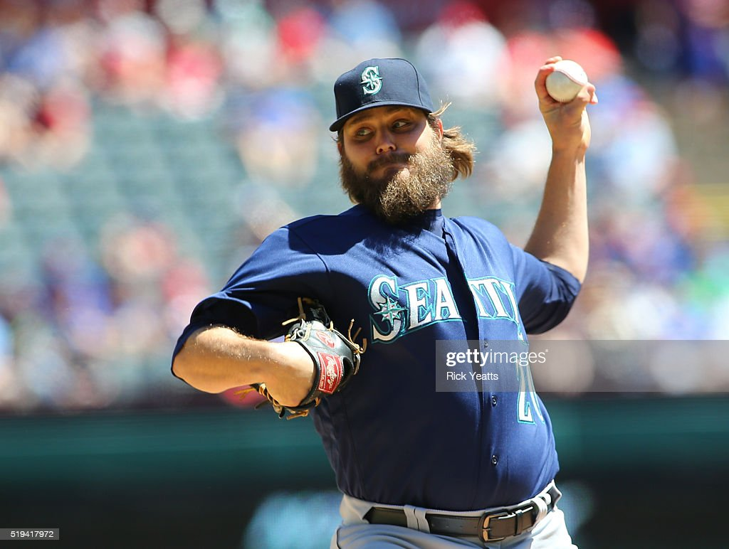 Wade Miley of the Seattle Mariners throws in the first inning against Texas Rangers at Global Life Park in Arlington on April 6 2016 in Arlington...
